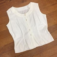 15392b5fab1c9 50s THIN Cotton Blouse Sleeveless White Top minimalist fitted blouse PINUP  darted Button Down tank w