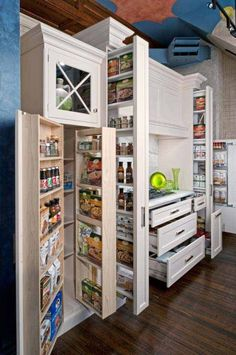 And you were worried a small kitchen didn't have storage? 16 Highly Functional Space Saving Ideas For Your Tiny Home homesthetics small kitchen furniture Kitchen Pantry Design, Smart Kitchen, Kitchen Storage, Kitchen Organization, Pantry Storage, Kitchen Ideas, Pantry Ideas, Organized Kitchen, Organization Ideas