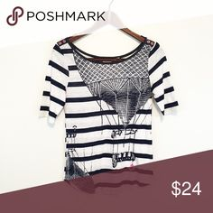 Postmark for Anthropologie Top This is darling! Navy nautical with a hint of pink! Anthropologie Tops Tees - Short Sleeve