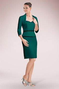 Concise Sweetheart Short Sheath Mother of Bride Dress Featuring Appliqued Band and Matching Jacket