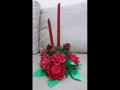 Decoração com rosas de e.v.a para vela de natal - YouTube