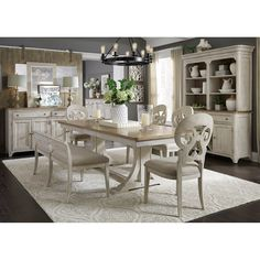 Farmhouse Reimagined 5 Piece Pedestal Table Set in Antique White Finish with Chestnut Tops by Liberty Furniture - Dining Room Sets, Dining Room Design, White Dining Rooms, White Dining Room Furniture, Dining Room Hutch, Bar Furniture, Furniture Deals, Royal Furniture, Furniture Market