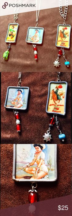 """Cowgirl Mini Pin-ups w/ Steel Frames Necklaces 26""""-28"""" Statement Necklaces with a Country Spin Take one for $18 or Bundle 2 and get the 3rd one FREE🐎 Jewelry Necklaces"""
