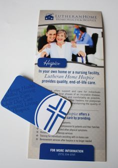 Rack card and business card for Home Health and Hospice services, via BOLD Marketing. Featuring spot UV coating and rounded corners, on a silk laminate stock.