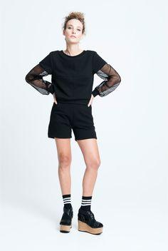 sara bailes x sweat mesh sweater x sweat shorts