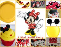 """Love the yellow used in this Minnie party. Possible solution to the """"black candy is gross"""" problem!"""