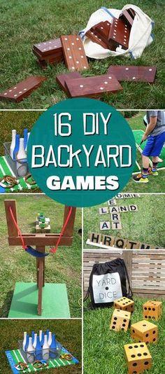 16 Fun DIY Backyard Games for the Whole Family Games 16 Fun DIY Backyard Games for the Whole Family Diy Yard Games, Diy Games, Party Games, Lawn Games, Diy Yard Toys, Free Games, Yard Dice, Outside Games, Garden Games