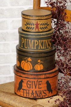 New Primitive Folk Art Fall GIVE THANKS Pumpkin Crow Star Nesting Stacking Boxes #Unbranded