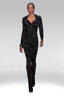 "ETCETERA - ""GROTTO"" $235 Charcoal & black floral leaves print mock wrap dress"