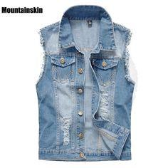 Mountainskin 2017 New Men's Denim Vest Vintage Sleeveless Washed Jeans Waistcoat Man Cowboy Ripped Fashion Jacket ,EDA176