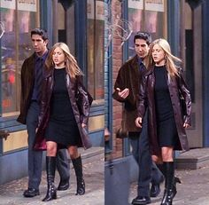 violet leather coat + LBD + pearl necklace + earrings + boots /Rachel Green