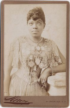 Sissaretta Jones, singer and entertainer. She was a popular opera singer who performed at the White House for Presidents Harrison, Cleveland, McKinley and Roosevelt as well as the British Royal Family. She lived from 1868 to 1933.