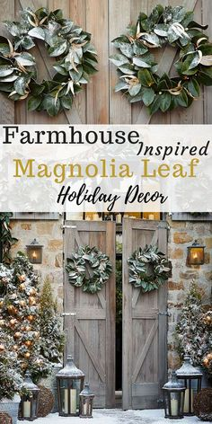 Beautiful Farmhouse Inspired Magnolia Leaf Wreath with Green and Gold Leaves. Pre-Lit Magnolia Wreath and Garland easily transition from fall to winter. Thanksgiving Decorations | Autumn Decor | Fall Decor Ideas | Christmas Decorations | Winter Holiday Decor | Rustic Christmas Decor #afflink