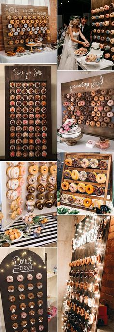 Donuts Wall Donut Display donut display wedding donut display ideas - Scott and Nicoles wedding - Doughnut Recipes Donut Wedding Cake, Wedding Donuts, Donut Party, Wedding Desserts, Diy Donuts, Dessert Table, Wedding Colors, Wedding Ideas, Wedding Signs