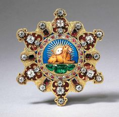 This badge of honor, a sign that the wearer had been initiated into the extremely prestigious Qajar Royal Order of the Lion and Sun, was created in France during the reign of Louis Philippe I, the last king of the Bourbon dynasty, around Iranian year 1220. The badge and that rank that it represents was highly coveted during the Qatar dynasty, and it was extremely useful in motivating the advisers to the Qajar shahs to do their very best work for Iran's rulers. It was created from go