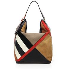 Burberry Ashby Medium Canvas Check & Leather Hobo Bag ($1,680) ❤ liked on Polyvore featuring bags, handbags, shoulder bags, apparel & accessories, hobo shoulder bags, leather purses, leather handbags, slouchy shoulder bag and genuine leather shoulder bag