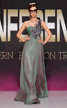 Sea Green One Shoulder Chiffon Prom Long Evening Dress