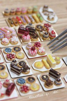 Miniature Modern Pâtisseries, Stephanie Kilgast, PetitPlat Food Art - Do it my self Cute Polymer Clay, Cute Clay, Polymer Clay Miniatures, Polymer Clay Charms, Dollhouse Miniatures, Fantasy Miniatures, Miniature Crafts, Miniature Food, Miniature Dolls