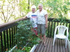 """Tomatoes, lettuces,beans growing in a 6"""" Square Foot Garden box on a deck"""
