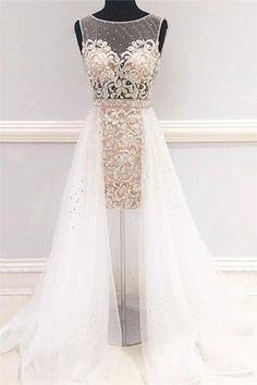 Unique White Round Neck Tulle Short Wedding Dresses prom dresses evening gowns