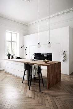 Inspired by the Scandinavian kitchen design disruptors: @kvikkitchen. The company's ethos to improve the kitchen industry's inconsistencies while brining down high pricing. Featuring clean white cabinetry and a solid wood worktop that creates a classic, timeless, combination (www.thestylesmiths.com.au)