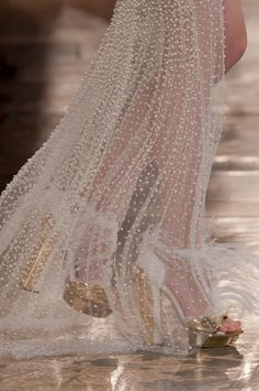 Alexander McQueen AW13/14 Pearl Embroidered Sheer Chiffon PFW