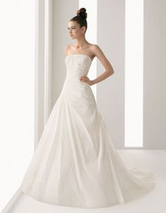 Strapless A-line taffeta bridal gown,princess wedding dress,princess wedding dress,princess wedding dress