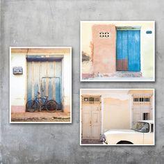 Three Cuban fine art prints -yellow pink pastel soft Trinidad car fine art travel print photography photo 10x8 11x14 20x30 20x16