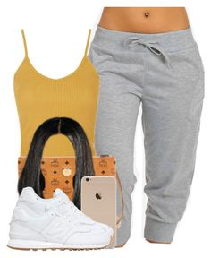 """""""Untitled #514"""" by princess-miyah ❤ liked on Polyvore featuring Topshop, MCM and New Balance"""