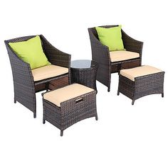 5 Piece Wicker Patio Chat Set Outdoor Furniture Rattan Dining Set Garden Cushion