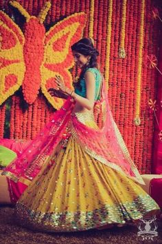 Looking for bright colorblocked lehenga in leheriya yellow pink and blue with mirror work detailing? Browse of latest bridal photos, lehenga & jewelry designs, decor ideas, etc. on WedMeGood Gallery. Indian Wedding Outfits, Bridal Outfits, Indian Outfits, Indian Clothes, Eid Outfits, Family Outfits, Bridal Dresses, Saris, Mehndi Dress