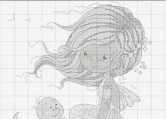 Cross stitch - fairies: Mermaid with a turtle (chart - part A)