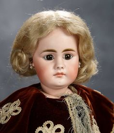 German Bisque Brown-Eyed Doll with Closed Mouth, Model 949, by Simon and Halbig 600/800
