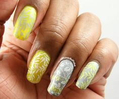 Paints And Polish: Yellow, Gray, and White Manicure