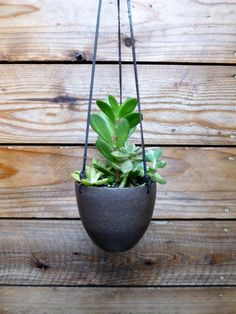 modern earthy ceramic hanging planter with leather strap ++ putikmade