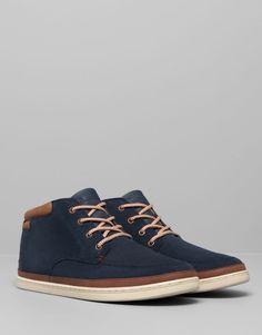 Pull&Bear - hombre - zapatos hombre - botín piel serraje contraste - marino - 17185312-I2014