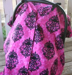 pink with black skulls and damask with black cotton canopy cover with or without opening by SqueakyBugBabies on Etsy Canopy Cover, Black Skulls, Black Cotton, Making Out, Damask, Baby Car Seats, Pink, Etsy, Color