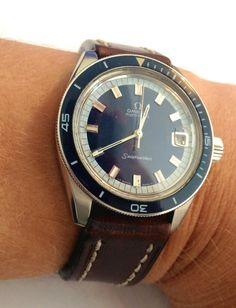 Omega seamaster on vintage leather