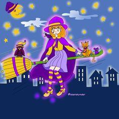 Witch Night #witch #halloween #animals #art #artwork #illustration #digitalart