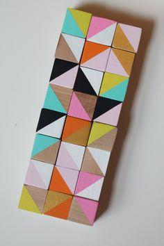 wooden cube blocks modern geometric sculpture art set-metallic gold-pink-orange-blue-yellow -black and white