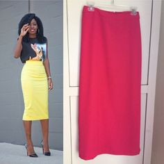⚡️1 HOUR  SALE⚡️Coral Maxi Pencil Skirt Perfect condition. Size 6 . Maxi length. Back zipper for closure . 100% POLYESTER . Modeled picture is to show style and fit . Actual skirt is the pink coral one. USE THE OFFER BUTTON TO MAKE REASONABLE OFFERS I DONT NEGOTIATE PRICES IN COMMENTS Skirts Maxi