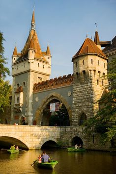 Vajdahunyad Castle, Budapest, Hungary, Europe. Everything a castle needs, even a moat. This is actually a relatively modern (1896-1908) reconstruction to showcase great aspects of Hungarian architecture.