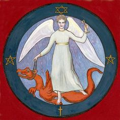 """6. Apocalypse Seal: Thousand Year Reign/Michael and the Dragon - from the book """"Art Inspired by Rudolf Steiner: An Illustrated Introduction"""" by John Fletcher"""