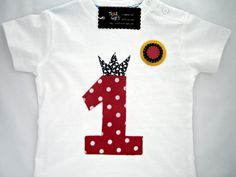 Baby shirt first birthday number one   12 month by teresetas, $20.00
