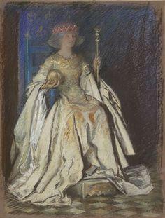 enthroned woman in art | Abbey: A Queen Enthroned, in gold dress, 1893. Yale University Art ...