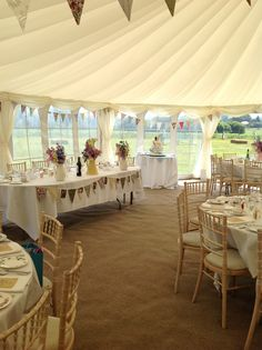 Marquee wedding - love the draping decoration on the roof and that it has clear walls for seeing outdoors