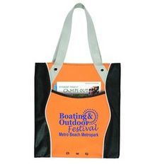"""Multi Color Boat Tote - Sturdy 600D Polyester Tote with 80 gsm Non Woven Polypropylene Trim. Large front pocket and decorative eyelets. 100% Re-usable & Recyclable. Handy pen loop on front.  Normal Production Time:  5 Working Days      Product Size:  14"""" w x 15"""" h with 32"""" Shoulder Straps      Product Weight:  200 pcs at 33 lbs      Additional Information:  Available in Blue, Red, Lime, Orange   Full Color Transfer Available-Contact Factory  Lowest Price: $2.99 Each"""