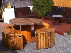 Table and chairs made from a mix of cable reel ends and pallet's.