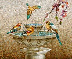 Mosaic bird fountain - Beautiful and Different Thoughts and Ideas