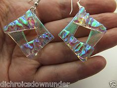 Funky Dichroic Glass Earrings by Cheryl Smith